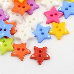 2-trou acrylique étoiles 12 mm accessoires de vêtements d'enfants chandail, teint, couleur mixte, 12x2mm, Trou: 1mm(X-BUTT-E053-M)