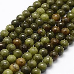 "Naturels chinois perles de jade brins, rond, 8mm, trou: 1.1mm; environ 48 pcs/chapelet, 15.4""(G-F363-8mm)"
