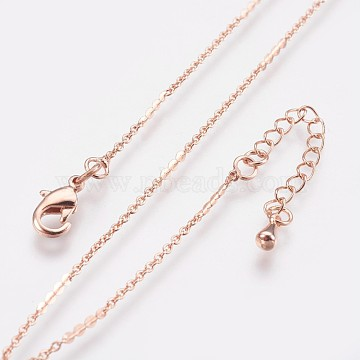 Long-Lasting Plated Brass Link Chain Necklaces, with Lobster Claw Clasp, Nickel Free, Real Rose Gold Plated, 18.3 inches (46.5cm), Link: 8.5x1.5mm(NJEW-K112-01RG-NF)