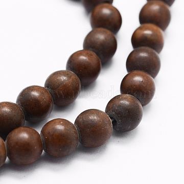 Natural Petrified Wood Beads Strands, Round, 8mm, Hole: 1mm, about 49pcs/strand, 15.7 inches(X-G-K257-05-8mm)
