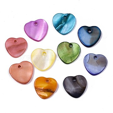 Natural Freshwater Shell Charms, Dyed, Heart, Mixed Color, 12.5x13x2mm, Hole: 1.5mm(X-SHEL-R113-17)