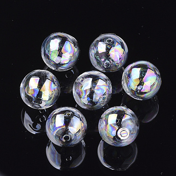 Handmade Blown Glass Globe Beads, AB Color Plated, Round, Clear AB, 18x17~17.5mm, Hole: 2~2.5mm(DH017J-1-18mm-AB)