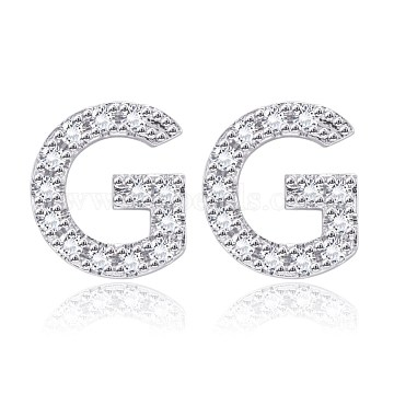 Brass Cubic Zirconia Stud Earrings, with Ear Nuts, Alphabet, Letter G, Clear, Platinum(EJEW-BB35118-G)