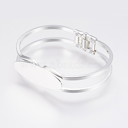 Brass Bangle Making, Blank Bangle Base, Rack Plating, Oval, Silver Color Plated, 1-7/8inchesx2-3/8inches(47x60mm); Tray: 15x40mm(X-KK-G315-01S)