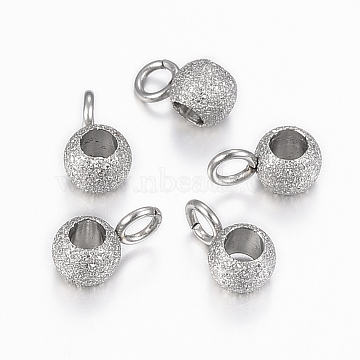 304 Stainless Steel Hanger Links, Textured, Rondelle Bail Beads, Stainless Steel Color, 7x4x3mm, Hole: 2mm, Inner diameter: 2mm(X-STAS-H423-12P)