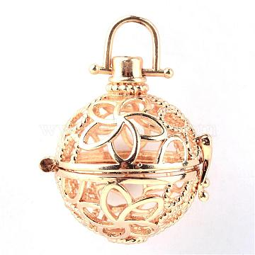 Rack Plating Brass Cage Pendants, For Chime Ball Pendant Necklaces Making, Hollow Round with Flower, Light Gold, 31x28x24mm, Hole: 6x6mm; inner measure: 21mm(KK-S751-029KC)