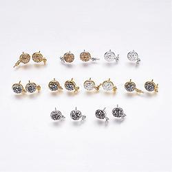 Accessoires de clou d'oreille en fer, avec argile polymère strass, demi-rond, pour la moitié de perles percées, couleur mixte, 14mm; broches: 0.8 mm et 1 mm(IFIN-G066-A)