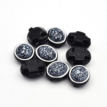 Sew on Taiwan Acrylic, Multi-strand Links, Garment Accessories, Oval, Black, 11x9x6mm, Hole: 1mm(X-SA54-6x8-S18-YSA1)
