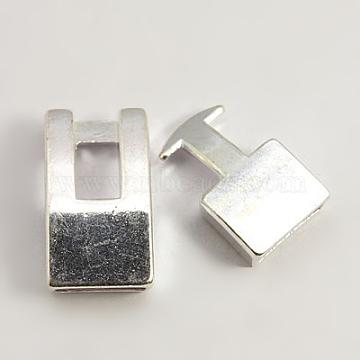 Tibetan Style Snap Lock Clasps, Cadmium Free & Nickel Free & Lead Free, Rectangle, Silver, 22x12x6mm, 19x12x5mm, Hole: 3x10mm(TIBE-LF11313Y-S-FF)