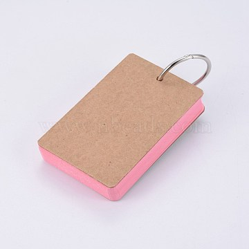 Kraft Loose-leaf Note Book Paper, Binder Ring Easy Flip Flash Cards Study Memo Pads, Pink, 88x54x19mm; about 50sheet/pc(BT-TAC0004-A03)