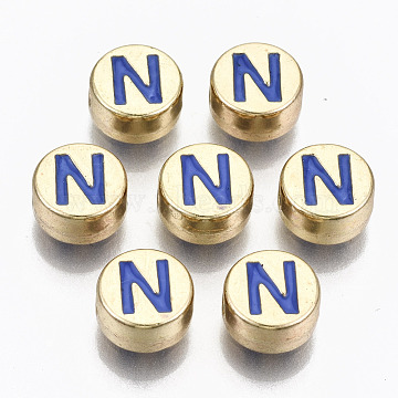 Alloy Enamel Beads, Cadmium Free & Lead Free, Flat Round with Initial Letters, Light Gold, Royal Blue, Letter.N, 8x4mm, Hole: 1.5mm(X-ENAM-S122-029N-RS)