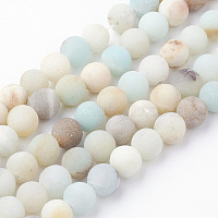 Natural Flower Amazonite Bead Strands, Round, Frosted, 6~6.5mm, Hole: 1.5mm, about 60pcs/strand, 14.9 inches(38cm)