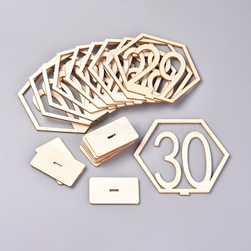 Wood Table Numbers Cards, for Wedding, Restaurant, Birthday Party Decorations, Hexagon with Number 21~30, Blanched Almond, 33x109x100mm(AJEW-WH0021-29C)