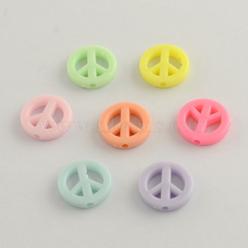 Opaque Acrylic Beads, Peace Sign, Mixed Color, 16x3mm, Hole: 2mm(X-SACR-Q098-05)