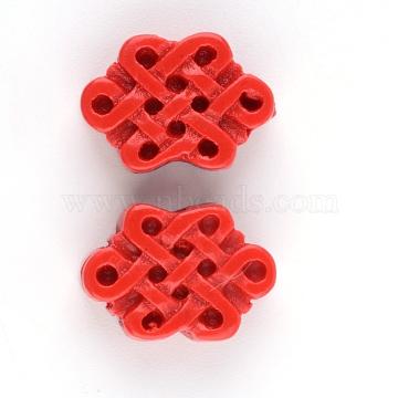 Cinnabar Beads, Chinese Knot, FireBrick, 10~11x15~16x5mm, Hole: 1.5mm(X-CARL-Q004-92A)