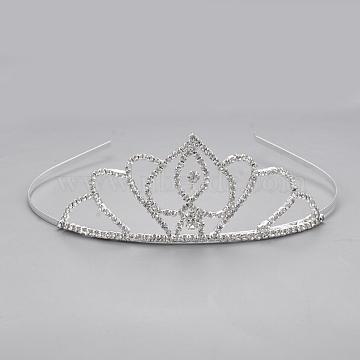 Fashionable Wedding Rhinestone Hair Bands, Headpiece, Bridal Tiaras, with Brass Bases, Crown, Crystal, 130mm(OHAR-Q283-05)