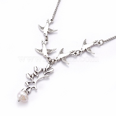 Tibetan Style Alloy Branch and Leaves Pendant Necklaces(X-NJEW-JN00751)-2