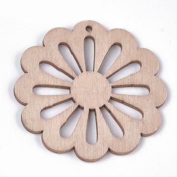 Dyed Wood Big Pendants, Flower, BurlyWood, 50x50x2~2.5mm, Hole: 2mm(WOOD-T016-09A)
