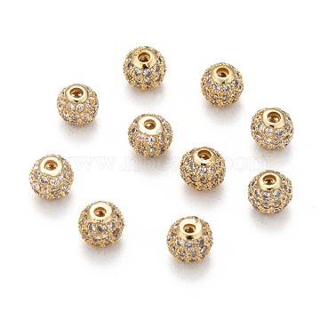 Brass Cubic Zirconia Beads, Round, Golden, 6mm, Hole: 1.5mm(ZIRC-F001-02G-6MM)