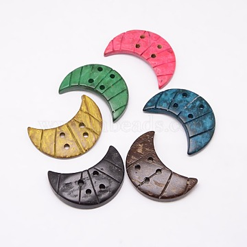 Ethnic Garment Accessories Wood Findings 4-Hole Coconut Sewing Buttons, Dyed, Crescent Moon, Mixed Color, 32~35x21~25x2~5mm, Hole: 2~3mm(BUTT-O002-A)