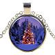Christmas Theme Glass Pendant Necklaces(NJEW-J056-B964-S)-1