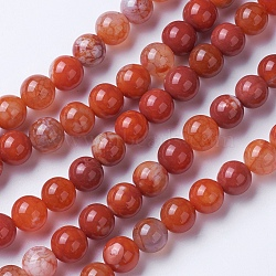 Natural Agate Beads Strands, Dyed & Heated, Grade A, Round, Chocolate, 6mm, Hole: 1mm; about 62pcs/strand, 14.9''(38cm)
