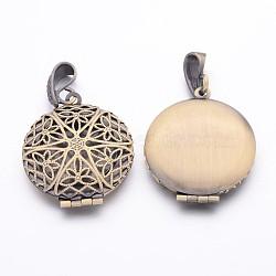 Pendentifs médaillon de diffuseur en laiton, breloques de cadre de photo pour le collier, sans plomb et sans nickel, couleur de bronze antique, environ 27 mm de large, Longueur 42.5mm, Trou: 4mm(X-ECF126-LFAB)