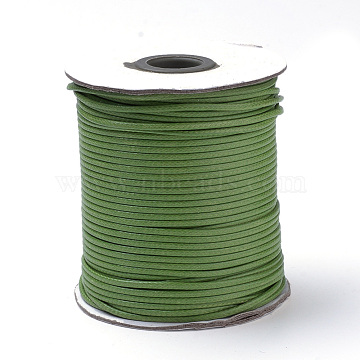 Braided Korean Waxed Polyester Cords, Olive Drab, 3mm, about 43.74 yards(40m)/roll(YC-T003-3.0mm-124)