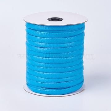 Flat Imitation Leather Cords, LightBlue, 10x2mm; about 50m/roll(54.68yards/roll)(OCOR-F008-C09)