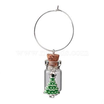 Glass Wishing Bottle Wine Glass Charms, with Christmas Tree Alloy Rhinestone Enamel Pendants and Brass Rings Hoop Earrings, Silver Color Plated, 60mm(AJEW-JO00134)