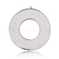 Platinum Tone Iron Big Pendants, with Glitter, Flat Round, White, 65x62x1mm, Hole: 2mm(IFIN-J041-03P)