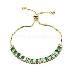 """Bracelets coulissants en laiton, bracelets bolo, avec des chaînes de coupelles en zircone cubique et des chaînes, or, verte, 10-1/4"""" (26 cm)(BJEW-I272-02BC)"""