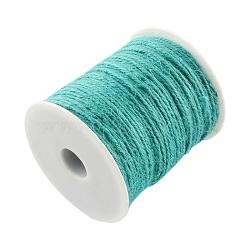 Cordon de chanvre coloré, chaîne de chanvre, ficelle de chanvre, 3 pli, pour la fabrication de bijoux, turquoise, 2 mm; 100 m / rouleau(OCOR-R008-2mm-012)