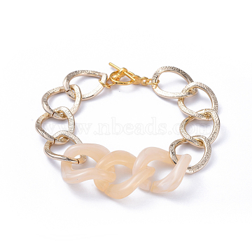 Chain Bracelets, with Aluminum Curb Chains, Acrylic Linking Rings and Alloy Toggle Clasps, Light Gold, Wheat, 7-5/8 inches(19.5cm)(X-BJEW-JB05176-03)