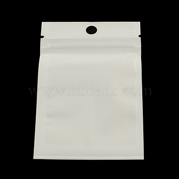 Pearl Film Plastic Zip Lock Bags, Resealable Packaging Bags, with Hang Hole, Top Seal, Self Seal Bag, Rectangle, White, 10x7cm, inner measure: 7x6cm(X-OPP-R002-05)
