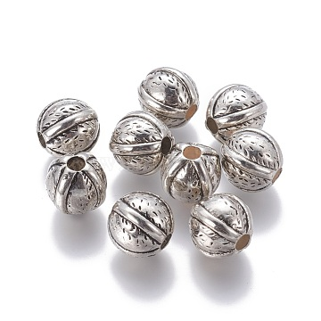 CCB Plastic European Beads, Round, Antique Silver, 16x15mm, Hole: 4mm(CCB-F006-17AS)