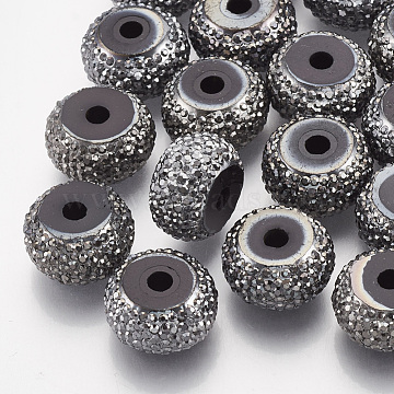 12mm Gray Rondelle Resin+Rhinestone Beads
