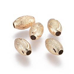 Perles de laiton texturées électroplaquées, Plaqué longue durée, ovale, or clair, 10x6mm, Trou: 2.5mm(KK-F789-31G)