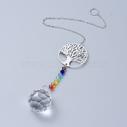 Crystals Chandelier Suncatchers Prisms Chakra Hanging Pendant, with Iron Cable Chains, Glass Beads and Brass Pendants, Flar Round with Tree of Life & Round, Clear, 345mm(AJEW-I040-12P)