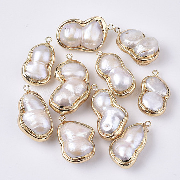 Natural Baroque Pearl Keshi Pearl Cultured Freshwater Pearl Pendants, with Brass Loops, Nuggets, Edge Golden Plated, Seashell Color, 27~35x15~22x10~14mm, Hole: 1.6mm(X-PEAR-S014-03)
