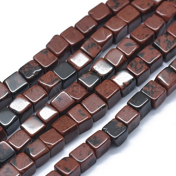 Natural Mahogany Obsidian Beads Strands, Cube, 3~4.5x3~4.5x3~5mm, Hole: 0.8~1mm; about 89~97pcs/strand, 15.1~15.5''(38.5~39.5cm)(G-F631-C11)