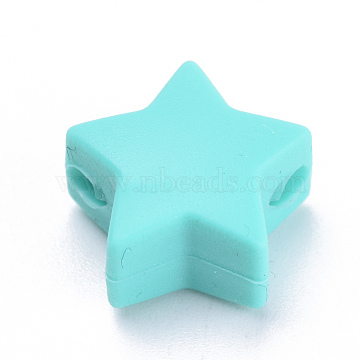 14mm Cyan Star Silicone Beads