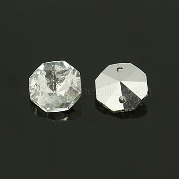 14mm Clear Octagon Glass Beads