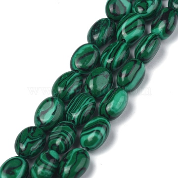 Synthetic Malachite Beads Strands, Oval, Dyed, 8x6x3.5~4mm, hole: 1mm, about 45~52pcs/strand, 15.16~15.74 inches(38.5~40cm)(G-Z006-A06)