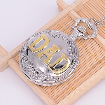 Openable Alloy Flat Round with Word Dad Pendant Necklace Quartz Pocket Watch, with Iron Chains, Platinum, 30.7~32.3inches; watch dial: 60x46x15.5mm; watch face: 35mm(WACH-M126-02)