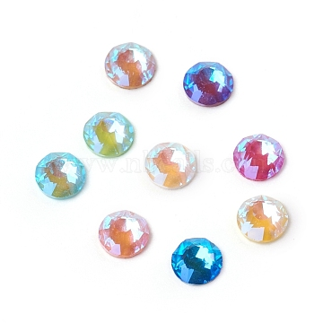 Glass Rhinestone Cabochons, Flat Back, Faceted, Fluorescent, Half Round, Mixed Color, 3x1.4mm(RGLA-L024-J07-MI)
