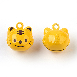 Pendentifs de cloche en laiton, douze signes du zodiaque chinois, tigre, 17~25x14~20x12.5~19mm, Trou: 2mm(IFIN-F149-H03)