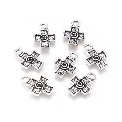 Style tibétain croix grecque supports pendentifs émail, argent antique, sans plomb et sans cadmium; 18.5x13 mm, Trou: 3mm(X-LF1140Y)