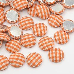 Accessoires embellissements d'album de vêtements demi flatback tartan dôme rond tissu tissé cabochons, avec fond en aluminium, de couleur métal platine , orange, 14.5x4mm(X-WOVE-F012-04)