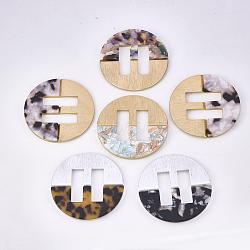 Boucles en aluminium et acétate de cellulose (résine), plat rond, couleur mixte, 61x4.5~5mm, Trou: 30.5x10mm(ALUM-S016-10A)